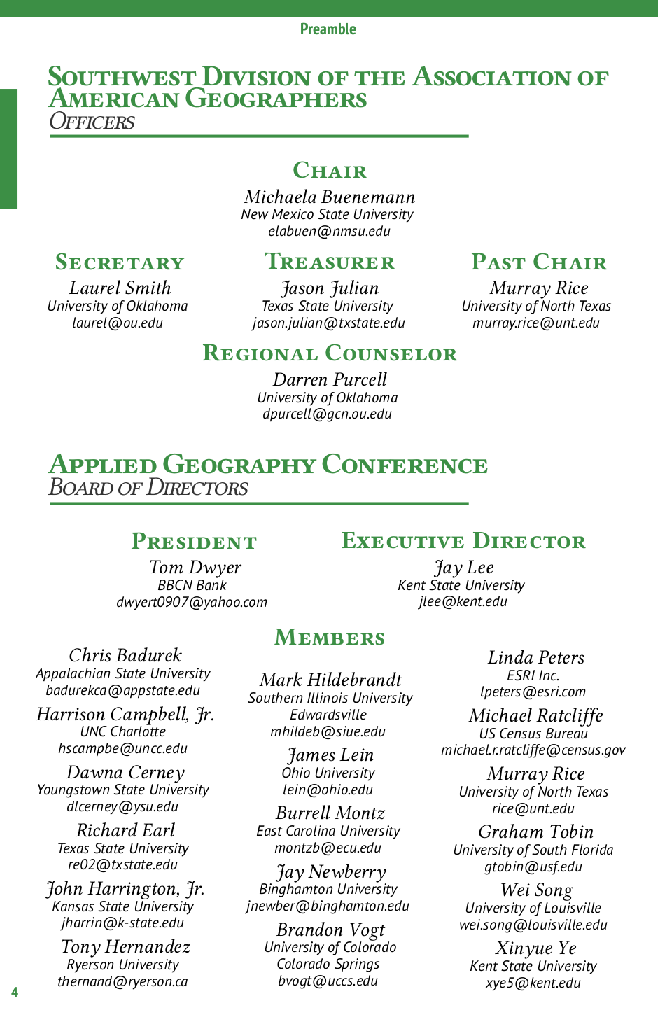 SWAAG/AGC 2015 conference program - Officer page