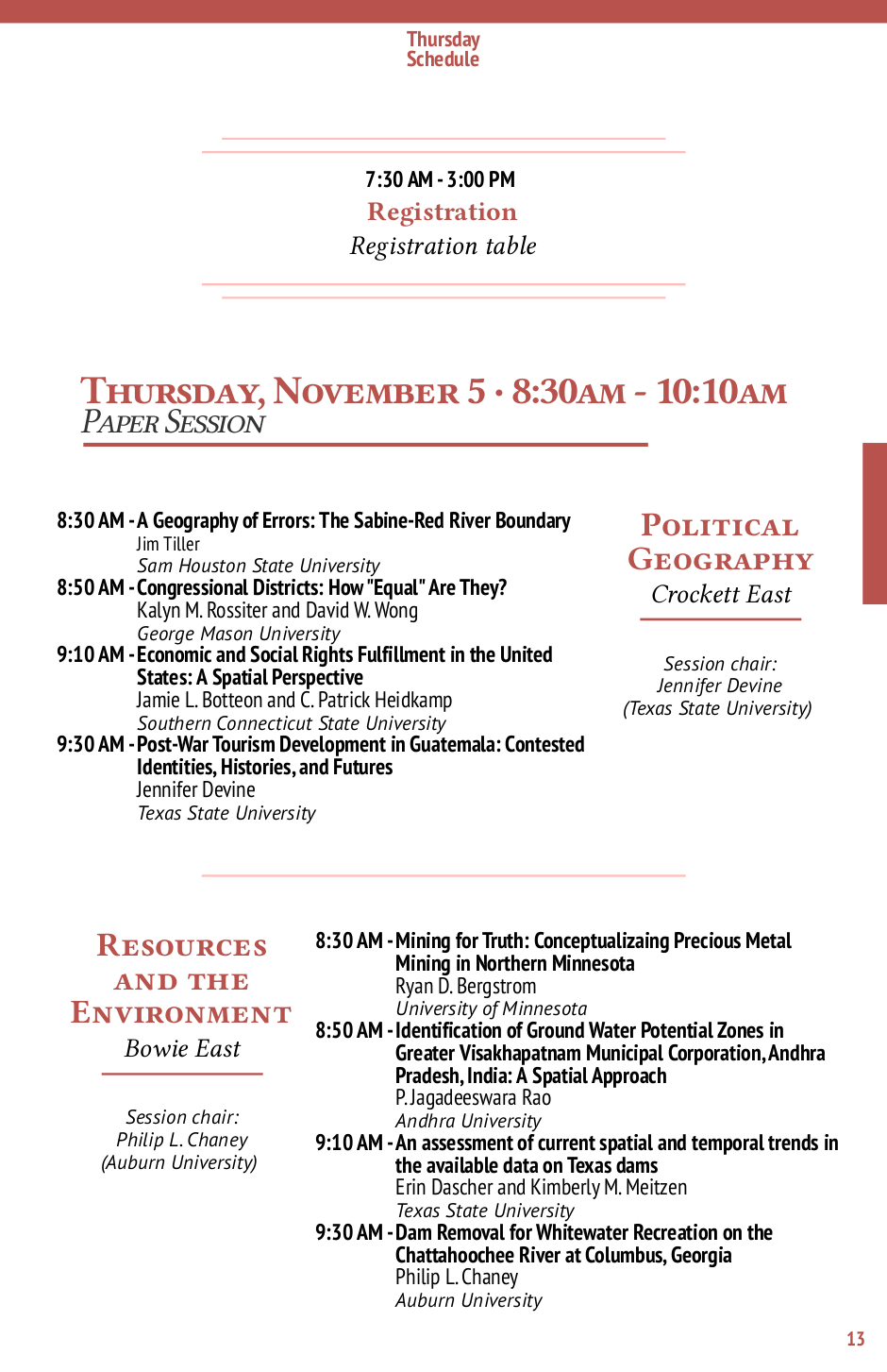 SWAAG/AGC 2015 conference program - Detailed program