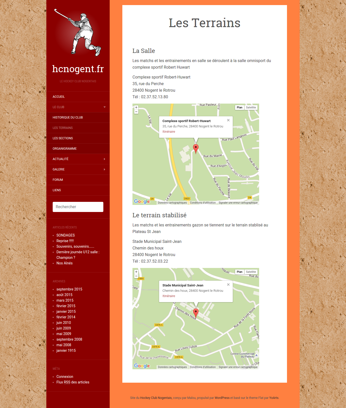 Website of the Nogent Le Rotrou field hockey club - Fixed page