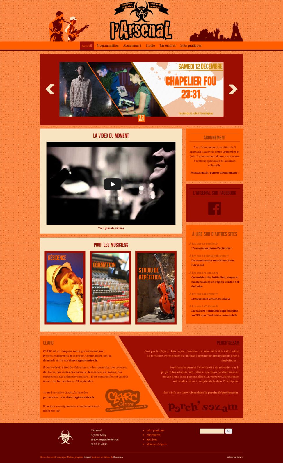 """Website of the venue """"l'Arsenal"""" - Homepage"""