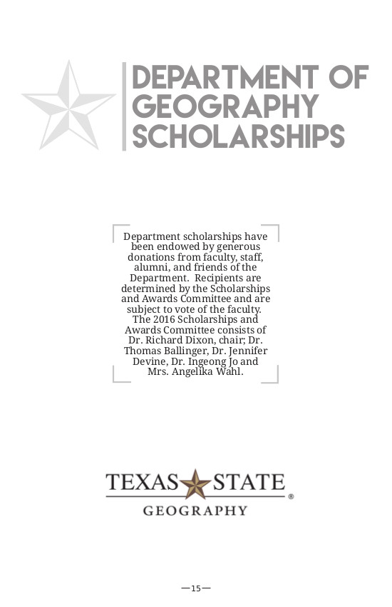 2016 Txstate Geography Alumni Reunion Brochure - Title page