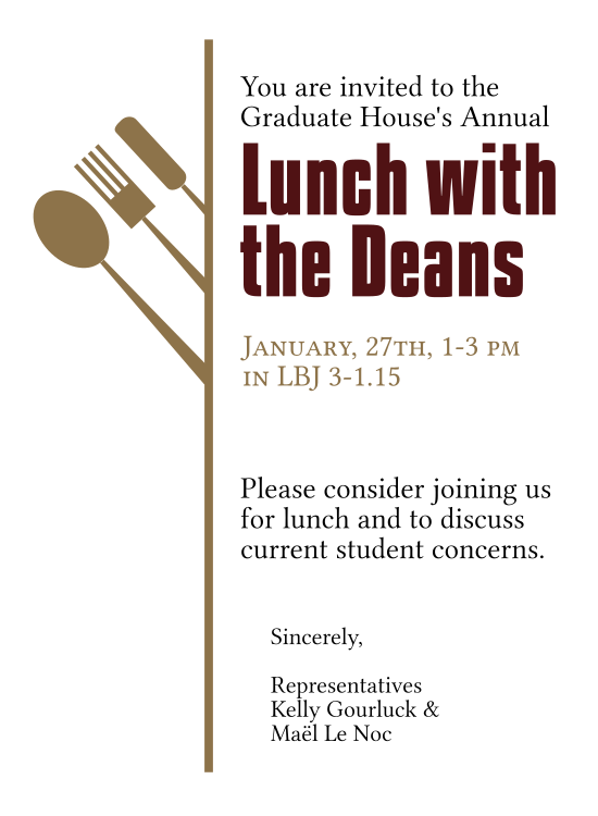 Invitation to Texas State Lunch with the Deans