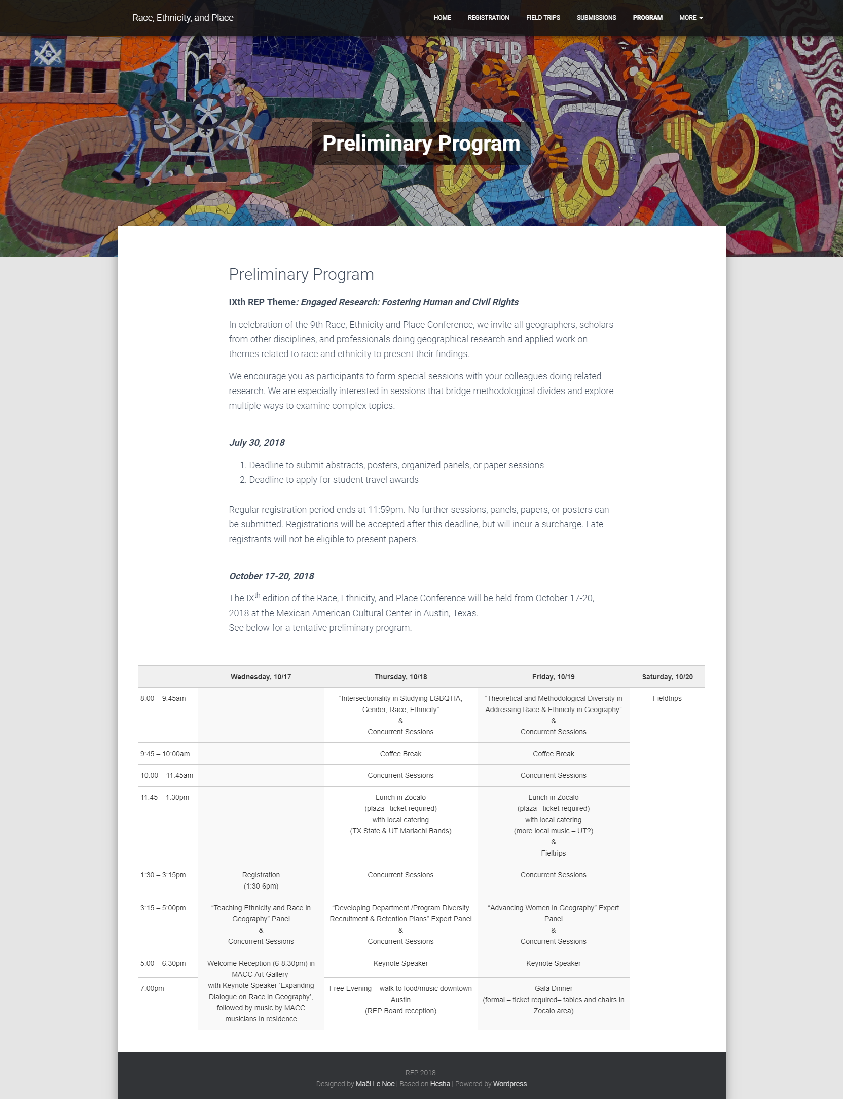 REP conference website - Program page