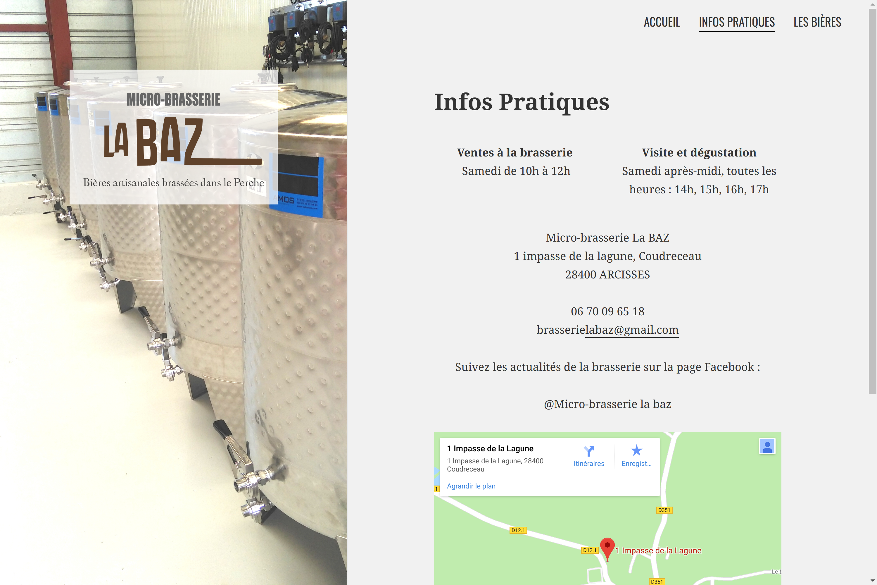 """Website of the microbrewery """"La Baz"""""""